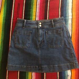 madewell stretch a line denim mini skirt